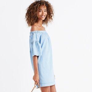 MADEWELL Denim Azalea Off-the-Shoulder Dress L